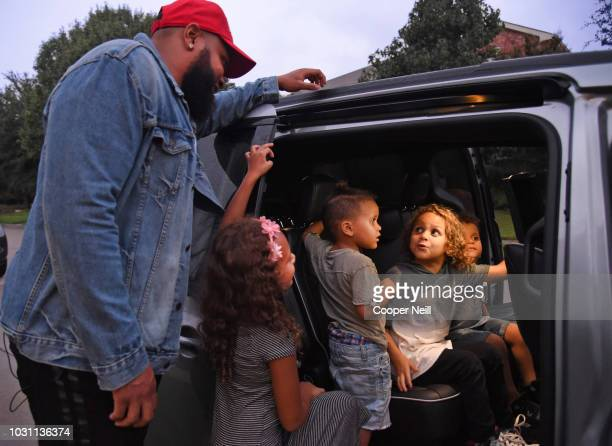 ABC's 'Jimmy Kimmel Live' surprises Dominique and Alexis Swinney and family with a new Chrysler Pacifica vehicle on September 10 2018 in McKinney...