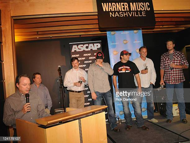 BMI's Jody Williams joins in the celebration at the BMI Party for Blake Shelton's Honey Bee at the offices of Warner Brothers Nashville on September...