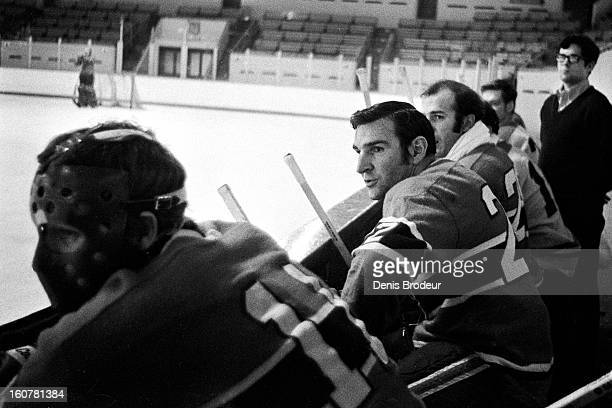MONTREAL CANADA CIRCA 1960's John Ferguson of the Montreal Canadiens looks on during practice at the Montreal Forum circa 1960's in Montreal Quebec...