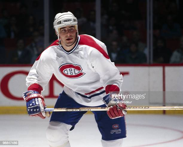 MONTREAL 1990's John LeClair of the Montreal Canadiens skates during the 1990's at the Montreal Forum in Montreal Quebec Canada LeClair played for...
