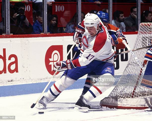 MONTREAL 1990's John LeClair of the Montreal Canadiens skates with the puck during the 1990's at the Montreal Forum in Montreal Quebec Canada LeClair...