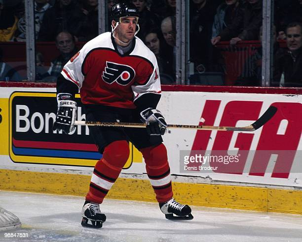 MONTREAL 1990's John LeClair of the Philadelphia Flyers skates against the Montreal Canadiens in the late 1990's at the Montreal Forum in Montreal...