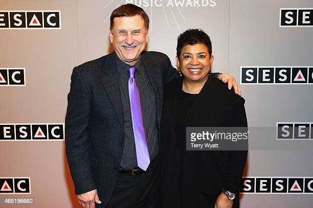 SESAC's John Mullins and the Gospel Music Association's Jackie Patillo arrive at the 2015 SESAC Christian Music Awards on March 3 2015 in Nashville...