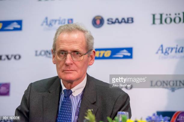 FEI's John Ross speaks at the press conference after the FEI Longines World Cup jumping during the Gothenburg Horse Show in Scandinavium Arena on...