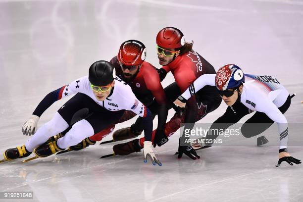 TOPSHOT USA's JohnHenry Krueger Canada's Charles Hamelin Canada's Samuel Girard and South Korea's Seo Yira compete in the men's 1000m short track...