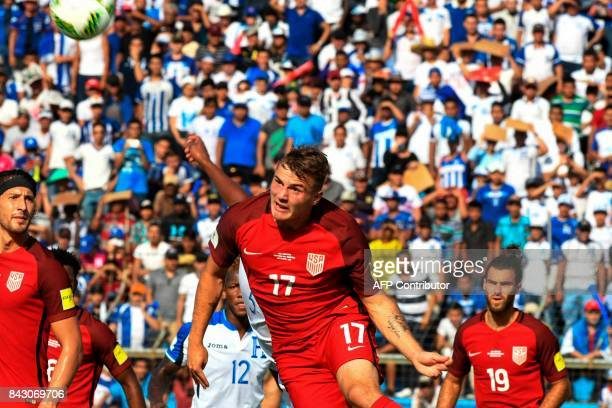 USA's Jordan Morris heads the ball during the 2018 World Cup qualifier football match against Honduras in San Pedro Sula Honduras on September 5 2017...