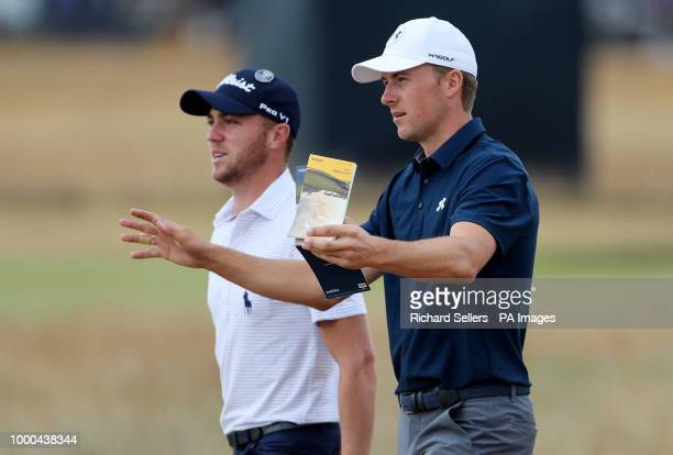 USA's Jordan Spieth and USA's Justin Thomas during preview day three of The Open Championship 2018 at Carnoustie Golf Links Angus