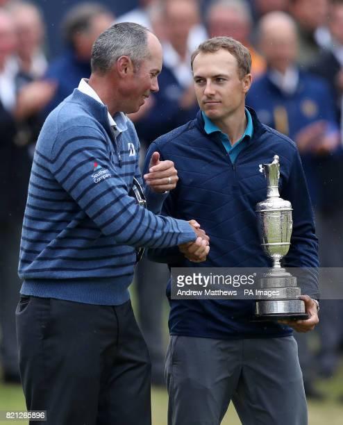 USA's Jordan Spieth celebrates with the Claret Jug after winning The Open Championship 2017 with USA's Matt Kuchar at Royal Birkdale Golf Club...
