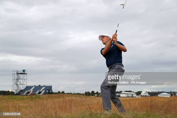 USA's Jordan Spieth chips from the rough during preview day three of The Open Championship 2018 at Carnoustie Golf Links Angus