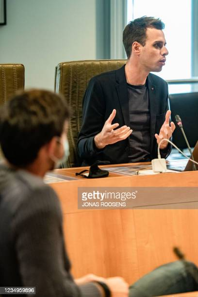 S Jos D'Haese pictured during a session of the investigating commission on the PFAS - PFOS pollution, in the Flemish Parliament in Brussels, Monday...