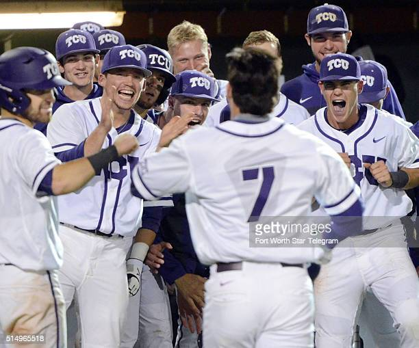 TCU's Josh Watson walks back to the dugout as his teammates celebrate his solo home run in the eighth inning against USC on Friday March 11 at Lupton...