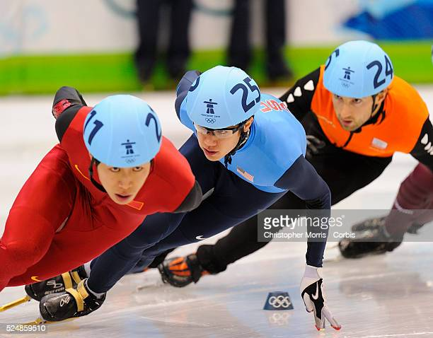 USA's JR Celski during the semifinals of the men's 1500 meter enroute to winning a bronze medal in short track speed skating at Pacific Coliseum on...