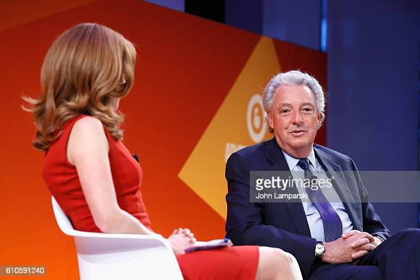 CNBC's Julia Boorstin interviews IPG Chairman and CEO Michael Roth during the The Chairman's Desk Michael Roth panel on the Times Center Stage during...