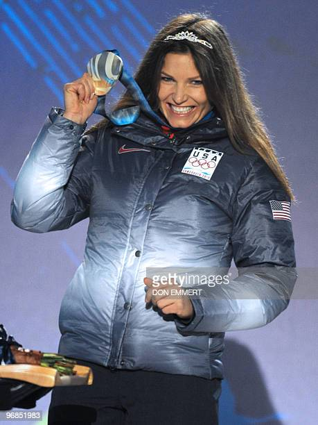 USA's Julia Mancuso stands on the podium during the medal ceremony for the Alpine skiing Ladies Super combined event of the Vancouver 2010 Winter...