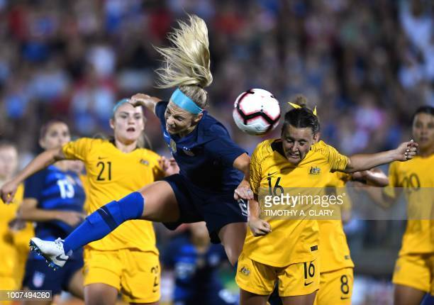 USA's Julie Ertz and Australia's Hayley Raso head the ball during the 2018 Tournament of Nations at Pratt Whitney Stadium at Rentschler Field on July...