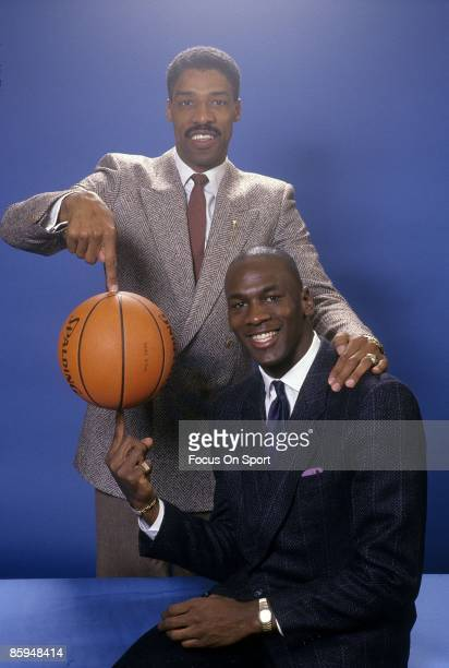 S: Julius Eving of the Philadelphia 76ers and Michael Jordan of the Chicago Bulls poses for this photo early circa 1980's. Erving played for the...