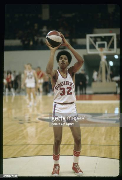 NORFOLK VA CIRCA 1970's Julius Eving of the Virginia Squires at the free throw line during an early circa 1970's ABA basketball game Erving played...