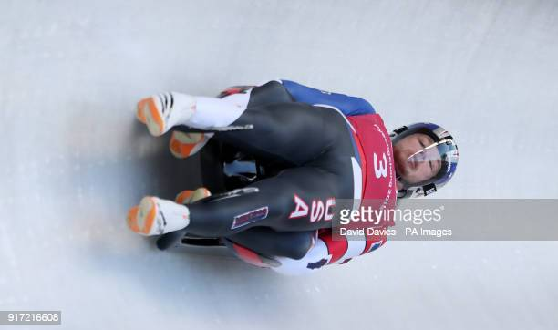 USA's Justin Krewson and Andrew Sherk during the Men's Double Luge practice during day three of the PyeongChang 2018 Winter Olympic Games in South...
