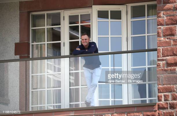 USA's Justin Thomas on a balcony overlooking the 8th tee during day one of the Aberdeen Standard Investments Scottish Open at The Renaissance Club...