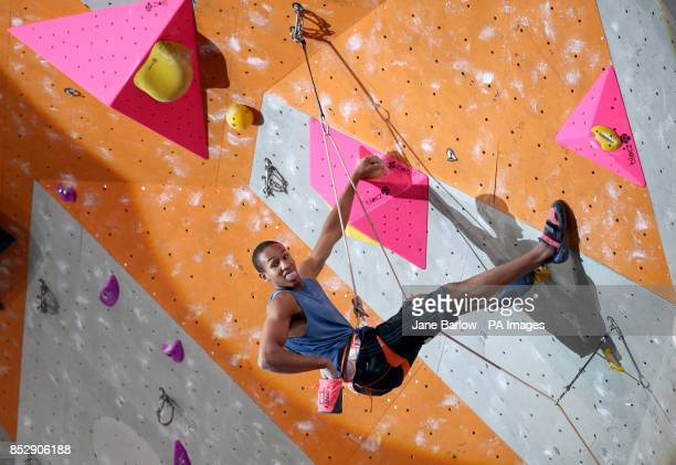 USA's Kai Lightner climbs in the lead semifinals during the IFSC Climbing World Cup at the Edinburgh International Climbing Arena