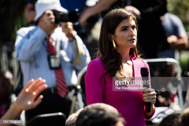 CNN's Kaitlan Collins asks questions of President Donald J Trump during an announcement on the United StatesMexicoCanada agreement in the Rose Garden...