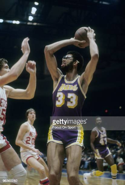 S: Kareem Abdul-Jabbar of the Los Angeles Lakers in action against the New Jersey Nets during a late circa 1970's NBA basketball game at the Rutgers...