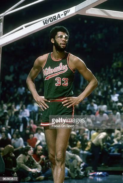 NEW YORK NY CIRCA 1970's Kareem AbdulJabbar of the Milwaukee Bucks in action against the New York Knicks during an early circa 1970's NBA basketball...