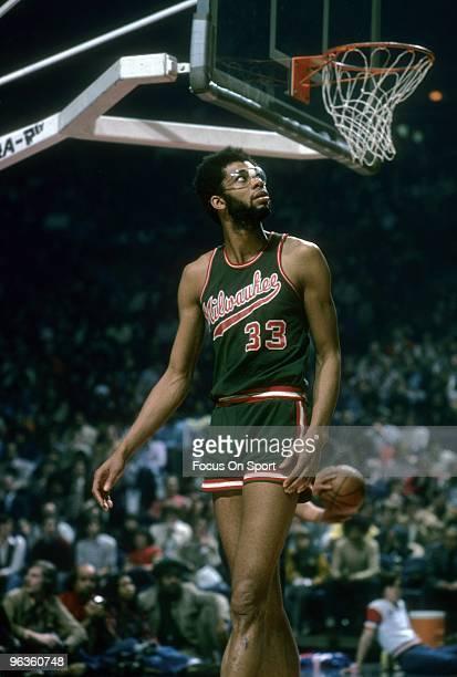 BALTIMORE MD CIRCA 1970's Kareem AbdulJabbar of the Milwaukee Bucks is looking up at the scoreboard during an early circa 1970's NBA basketball game...