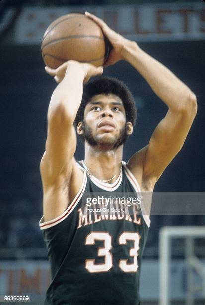 BALTIMORE MD CIRCA 1970's Kareem AbdulJabbar of the Milwaukee Bucks shooting a foul shot against the Baltimore Bullets during an early circa 1970's...
