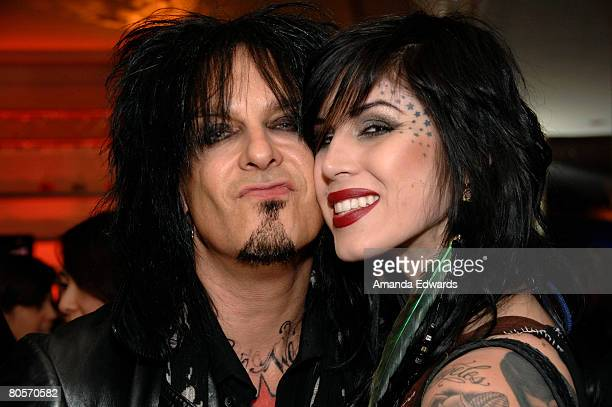 TLC's Kat Von D and musician Nikki Sixx attend the Discovery Communications Upfront Presentation LA at the Beverly Wilshire Hotel on April 8 2008 in...