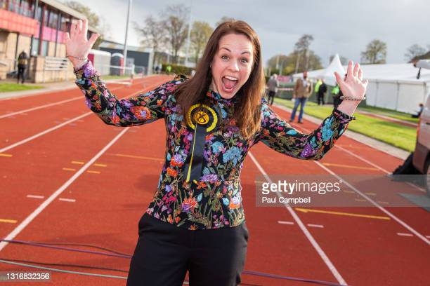 S Kate Forbes celebrates being elected as MSP for the Skye, Lochaber and Badenoch Constituency May 7, 2021 in Inverness, Scotland. Voting has...