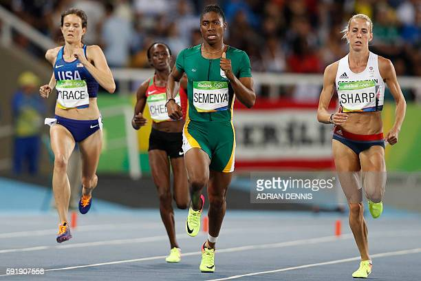 USA's Kate Grace South Africa's Caster Semenya and Britain's Lynsey Sharp compete in the Women's 800m Semifinal during the athletics event at the Rio...