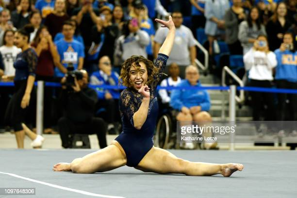 UCLA's Katelyn Ohashi competes in floor exercise during a PAC12 meet against Arizona State at Pauley Pavilion on January 21 2019 in Los Angeles...
