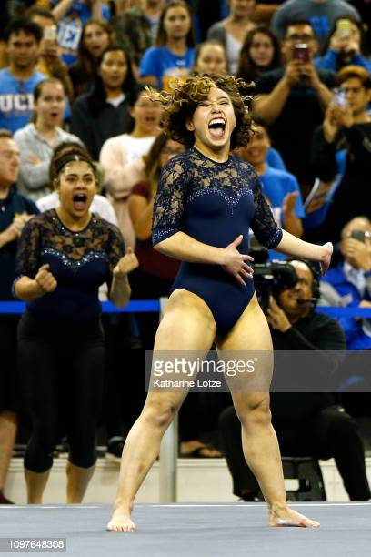 S Katelyn Ohashi competes in floor exercise during a PAC-12 meet against Arizona State at Pauley Pavilion on January 21, 2019 in Los Angeles,...