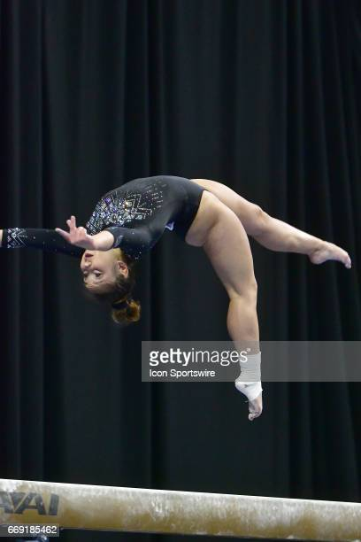 UCLA's Katelyn Ohashi performs on the balance beam during the finals of the NCAA Women's Gymnastics National Championship on April 15 at Chaifetz...
