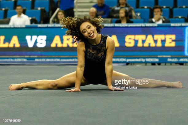 S Katelyn Ohashi warms up ahead of a PAC-12 meet against Arizona State at Pauley Pavilion on January 21, 2019 in Los Angeles, California.