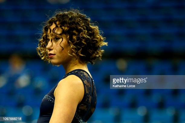 S Katelyn Ohashi warms up for floor exercise ahead of a PAC-12 meet against Arizona State at Pauley Pavilion on January 21, 2019 in Los Angeles,...