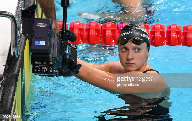 USA's Katie Ledecky checks the scoreboard after the women's 800 metre freestyle event at the FINA World Championships 2017 in Budapest Hungary 29...