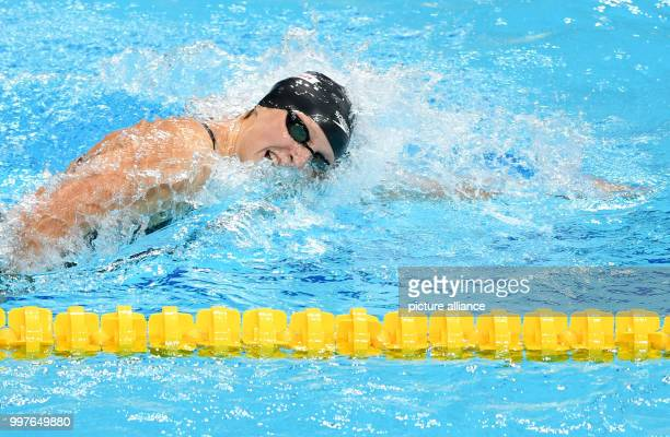 USA's Katie Ledecky swims during the women's 800 metre freestyle event at the FINA World Championships 2017 in Budapest Hungary 29 July 2017 Photo...