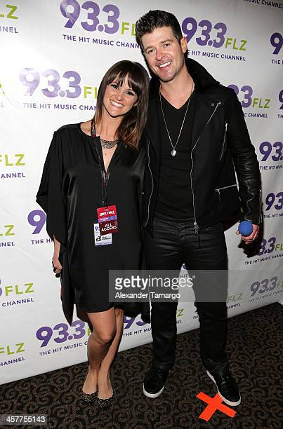 S Katie Sommers and Robin Thicke attend 93.3 FLZ's Jingle Ball 2013 at the Tampa Bay Times Forum on December 18, 2013 in Tampa, Florida.