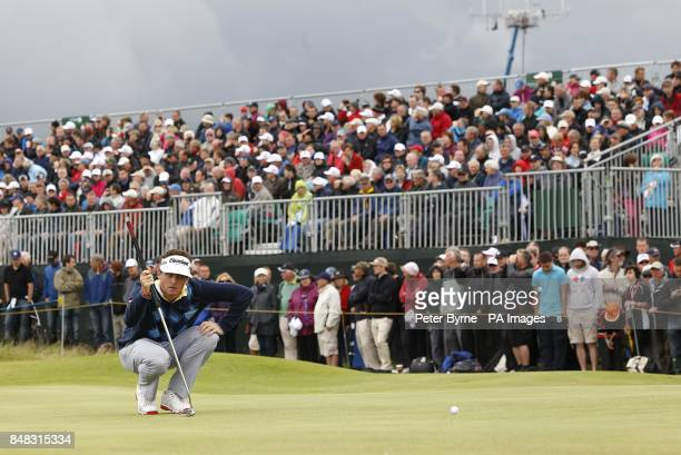 USA's Keegan Bradley lines up a putt during day one of the 2012 Open Championship at Royal Lytham St Annes Golf Club Lytham St Annes