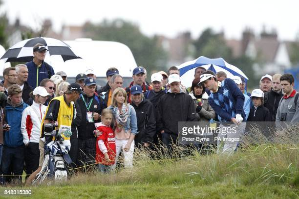USA's Keegan Bradley plays from the rough on the 14th hole during day one of the 2012 Open Championship at Royal Lytham St Annes Golf Club Lytham St...