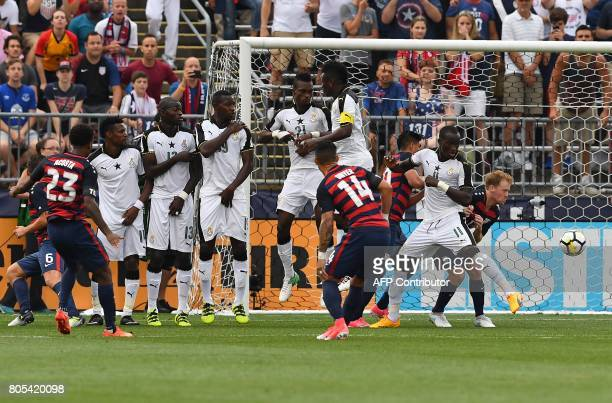 USA's Kellyn Acosta scores the winning goal against Ghana during their International Friendly match July 1 2017 at Pratt Whitney Stadium at...