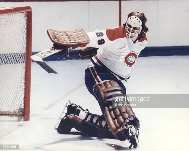 S: Ken Dryden of the Montreal Canadiens makes a save.