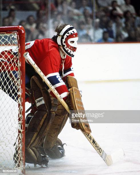 BOSTON MA 1970's Ken Dryden of the Montreal Canadiens tends goal in game against the Boston Bruins at Boston Garden