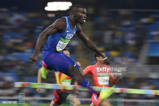 TOPSHOT USA's Kerron Clement competes in the Men's 400m Hurdles Semifinal during the athletics event at the Rio 2016 Olympic Games at the Olympic...