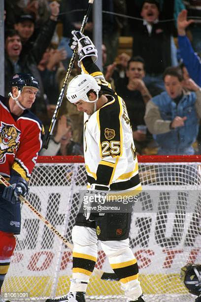 BOSTON MA 1990's Kevin Stevens of the Boston Bruins celebrates goal in game at the Fleet Center in Boston