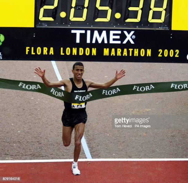 USA's Khalid Khannouchi crossing the winning line in the Flora London Marathon Khalid Khannouchi smashed his own world record in an official time of...