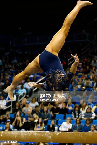UCLA's Kyla Ross competes on balance beam during a PAC12 meet against Arizona State at Pauley Pavilion on January 21 2019 in Los Angeles California
