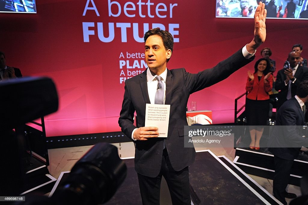 UK's Labour Party leader Ed Miliband addresses the launch of The Labour Party 2015 Election Manifesto at the Old Granada Studios in Manchester, United Kingdom on April 13, 2015.